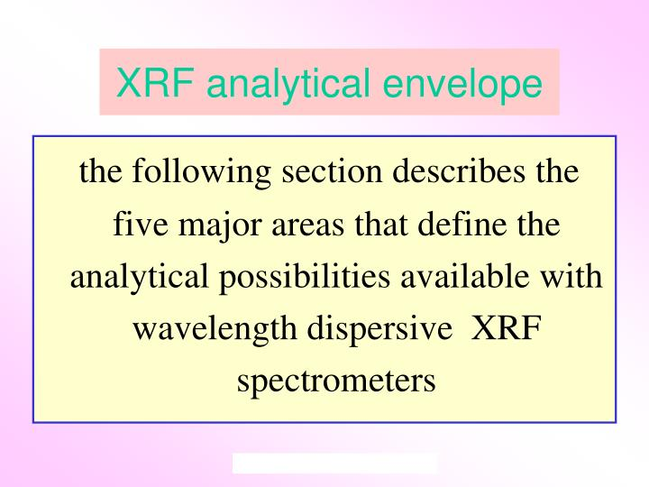 XRF analytical envelope