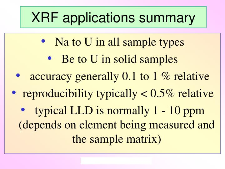 XRF applications summary