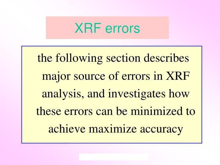XRF errors