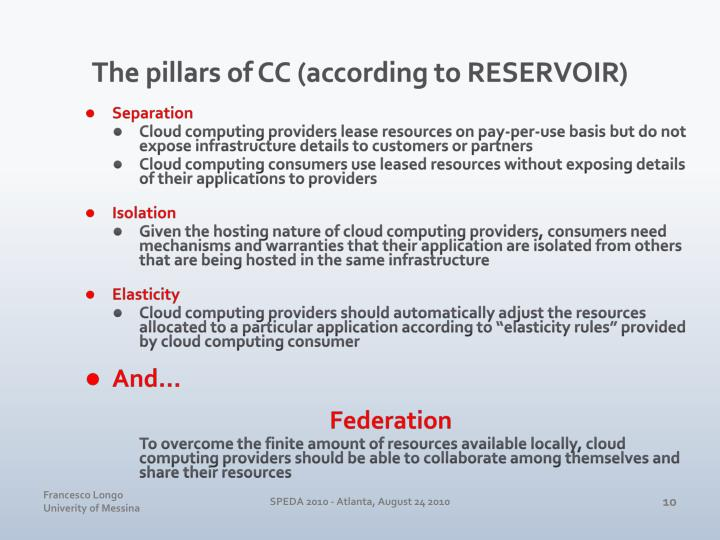 The pillars of CC (according to RESERVOIR)