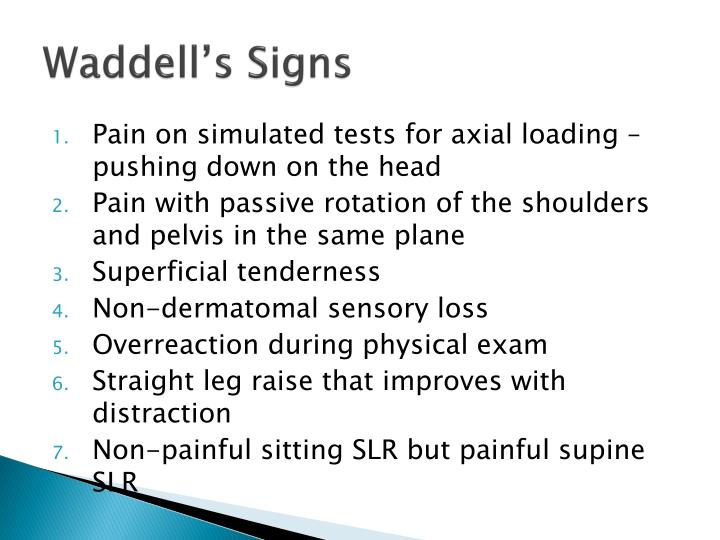 Waddell's Signs