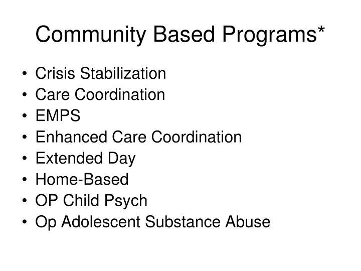 Community Based Programs*