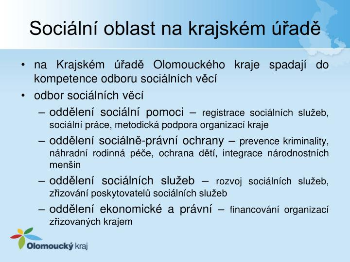 Sociální oblast na krajském úřadě