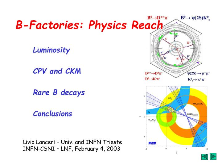 B factories physics reach