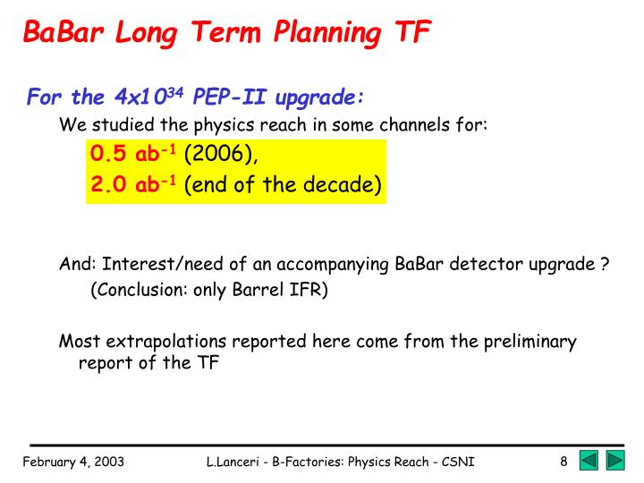 BaBar Long Term Planning TF