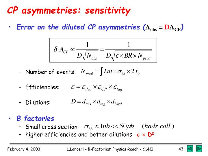 CP asymmetries: sensitivity