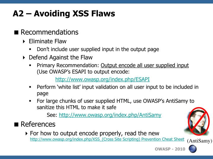 A2 – Avoiding XSS Flaws