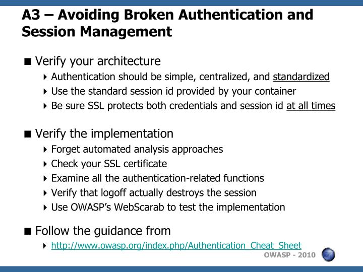 A3 – Avoiding Broken Authentication and Session Management