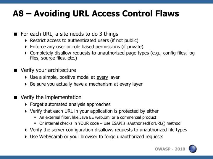 A8 – Avoiding URL Access Control Flaws