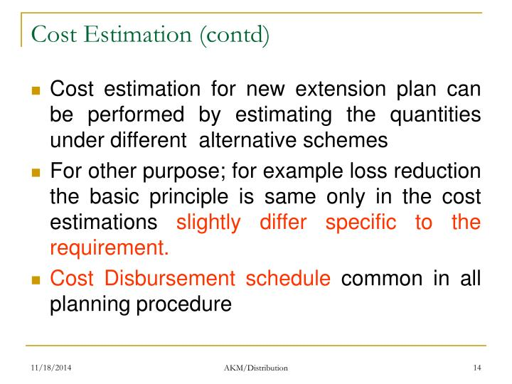 Cost Estimation (contd)