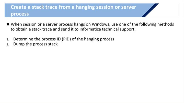Create a stack trace from a hanging session or server process