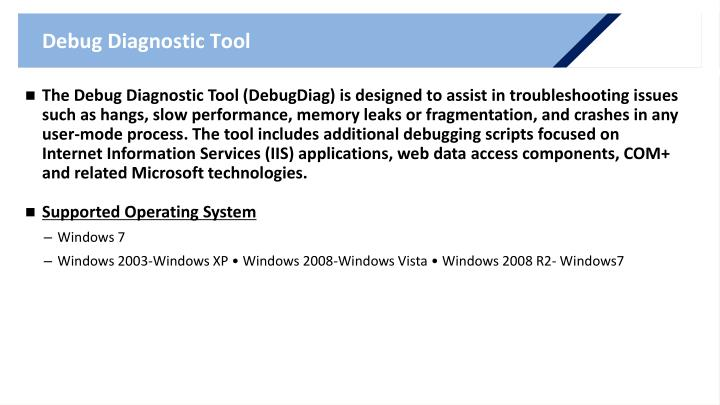 Debug Diagnostic Tool
