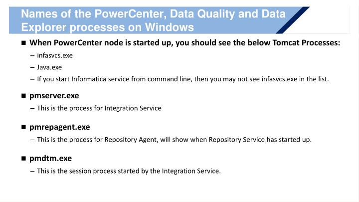 Names of the PowerCenter, Data Quality and Data Explorer processes on Windows