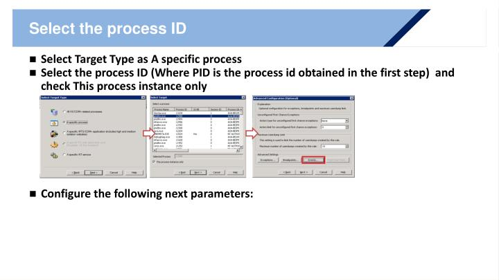 Select the process ID