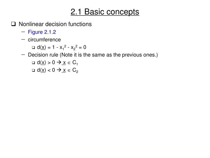 2.1 Basic concepts