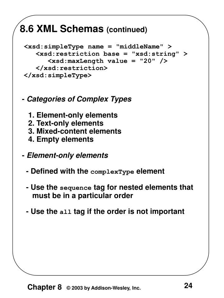 8.6 XML Schemas