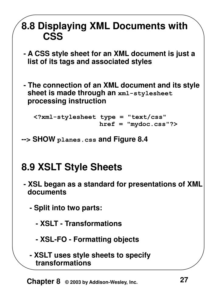 8.8 Displaying XML Documents with