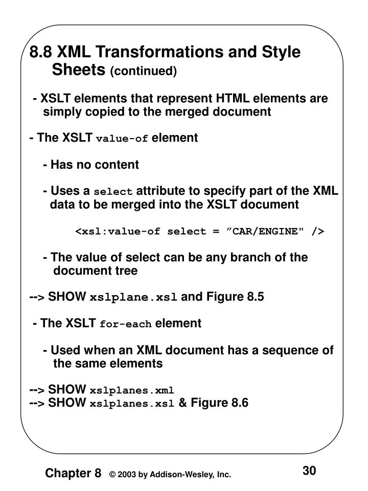 8.8 XML Transformations and Style