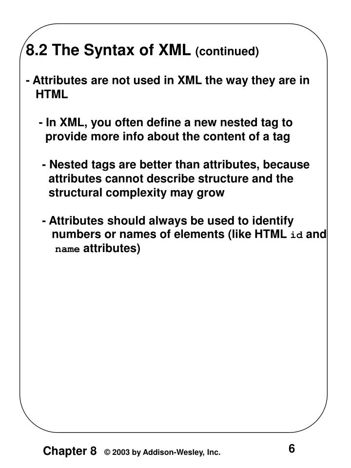 8.2 The Syntax of XML