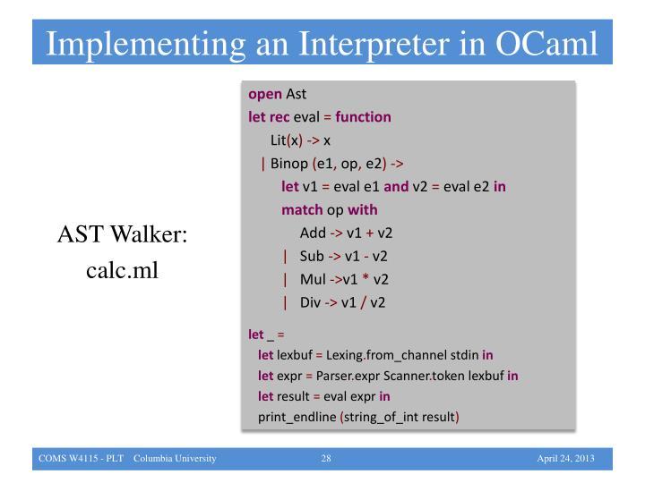 Implementing an Interpreter in OCaml