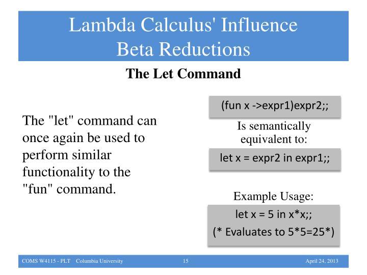 Lambda Calculus' Influence