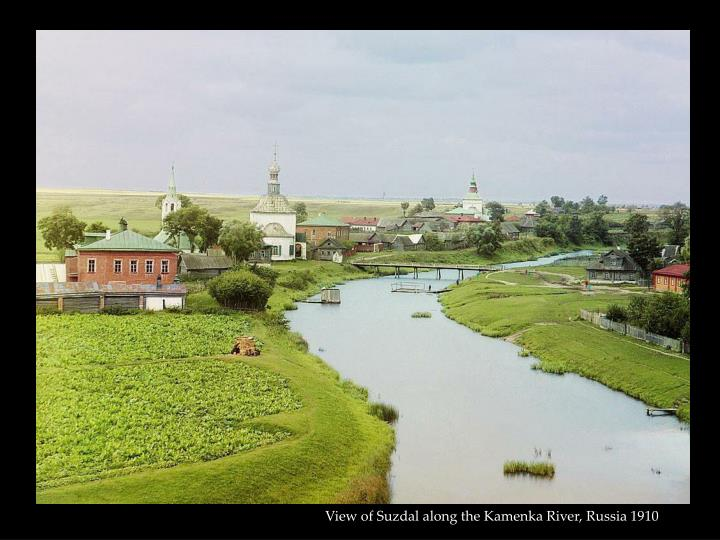 View of Suzdal along the Kamenka River, Russia 1910