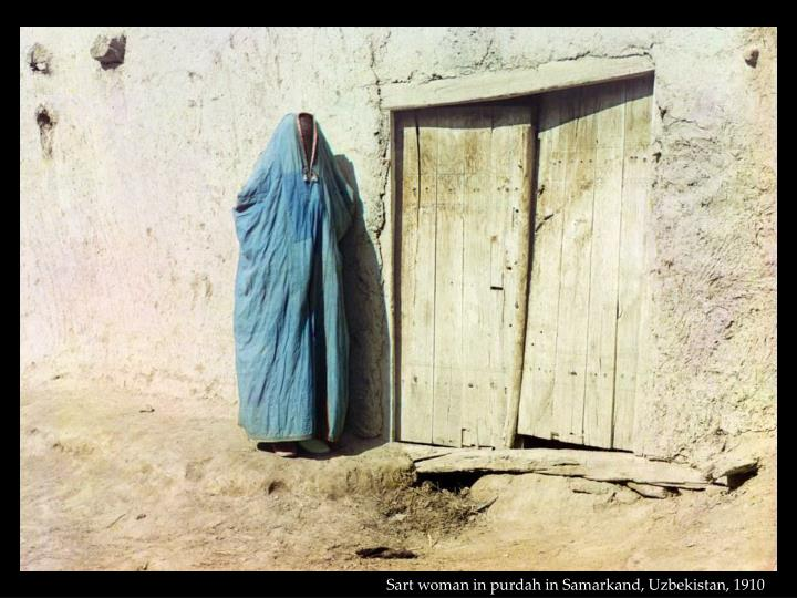 Sart woman in purdah in Samarkand, Uzbekistan, 1910