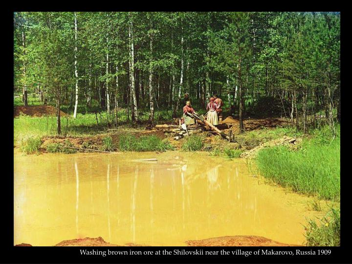 Washing brown iron ore at the Shilovskii near the village of Makarovo, Russia 1909