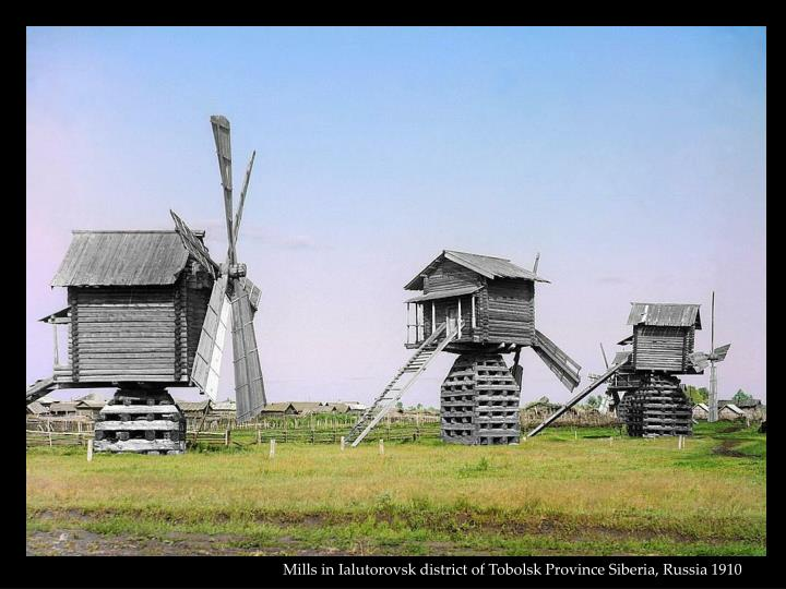 Mills in Ialutorovsk district of Tobolsk Province Siberia, Russia 1910