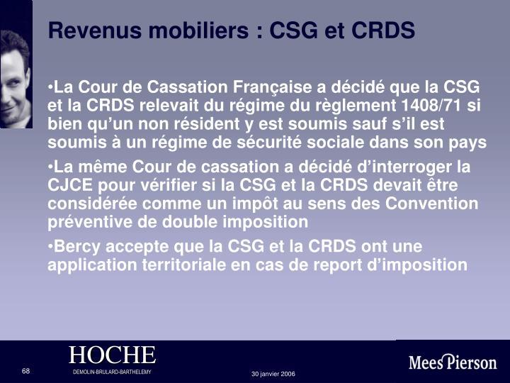 Revenus mobiliers : CSG et CRDS