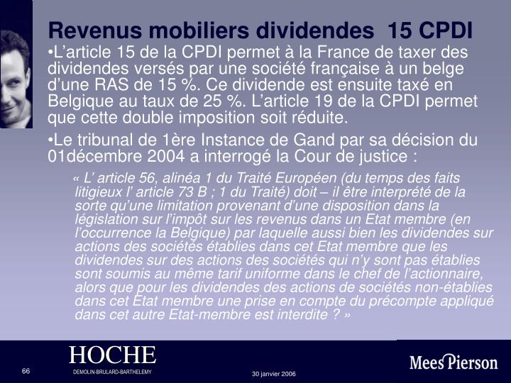Revenus mobiliers dividendes  15 CPDI