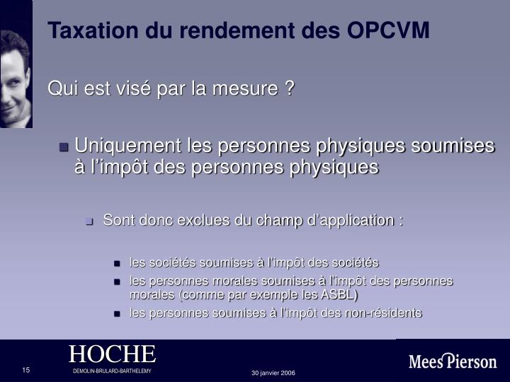 Taxation du rendement des OPCVM