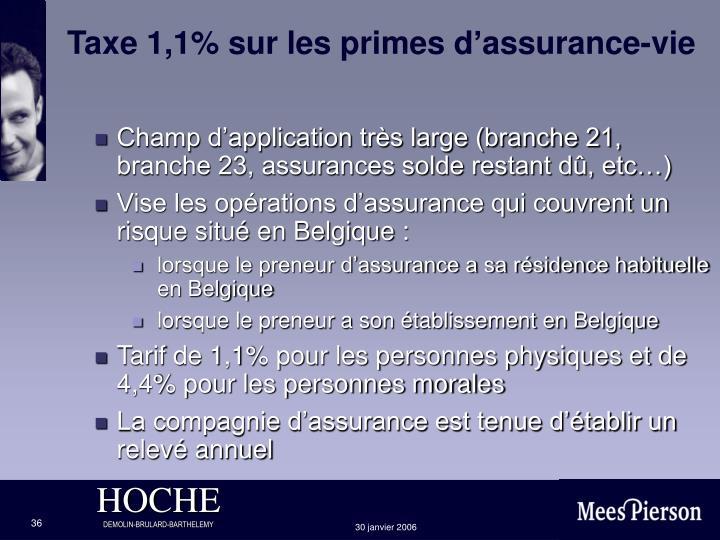 Taxe 1,1% sur les primes d'assurance-vie