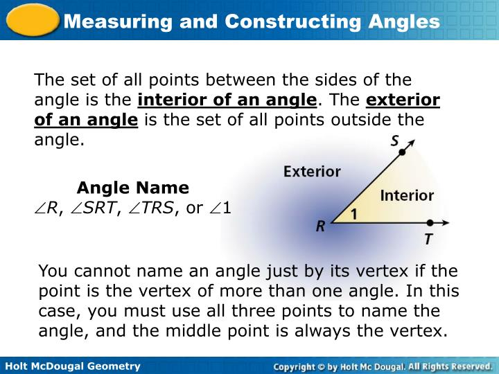 The set of all points between the sides of the angle is the