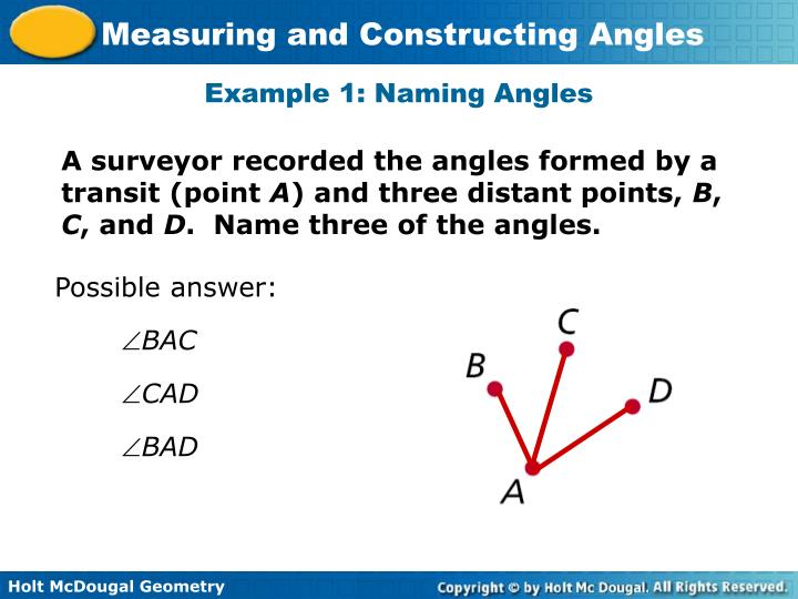 Example 1: Naming Angles