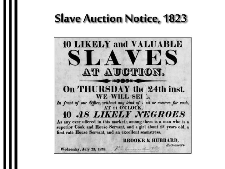 Slave Auction Notice, 1823
