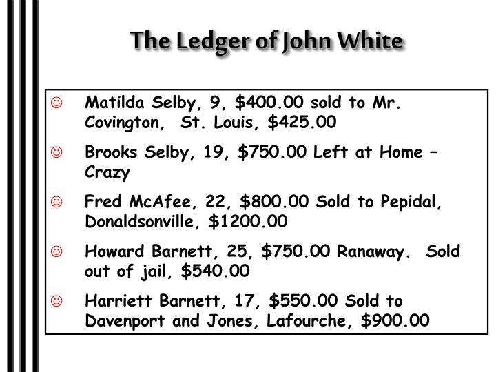 The Ledger of John White