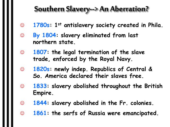 Southern Slavery--> An Aberration?