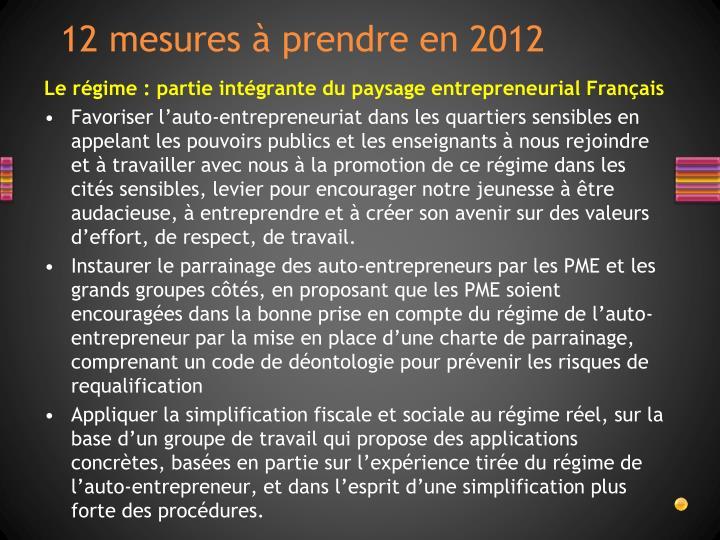12 mesures à prendre en 2012