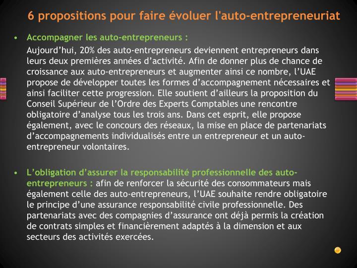 6 propositions pour faire évoluer l'auto-entrepreneuriat