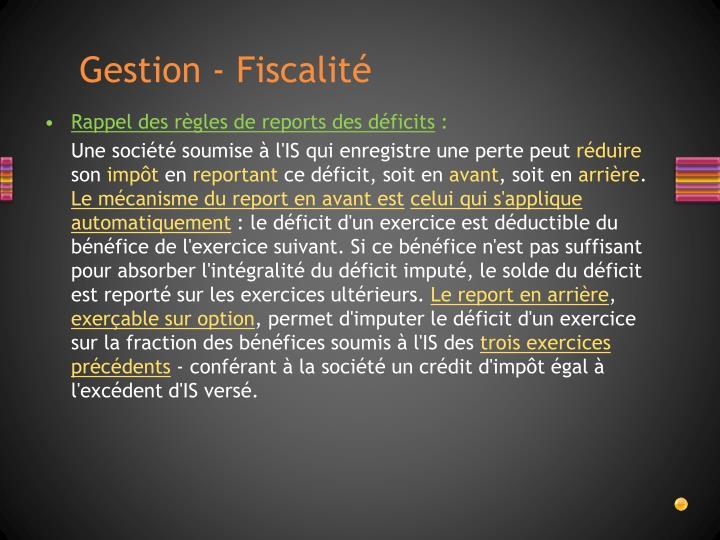 Gestion - Fiscalité