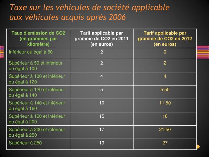 Taxe sur les véhicules de société applicable aux véhicules acquis après 2006