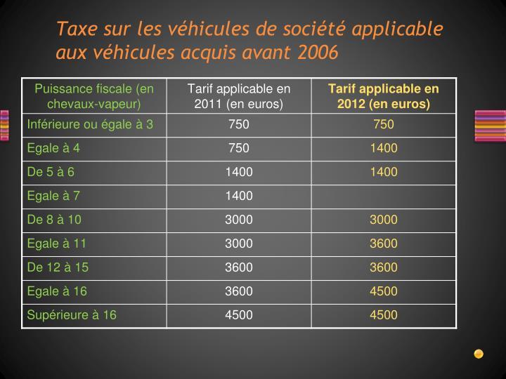 Taxe sur les véhicules de société applicable aux véhicules acquis avant 2006