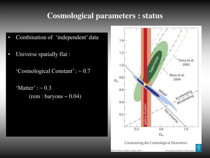 Cosmological parameters status