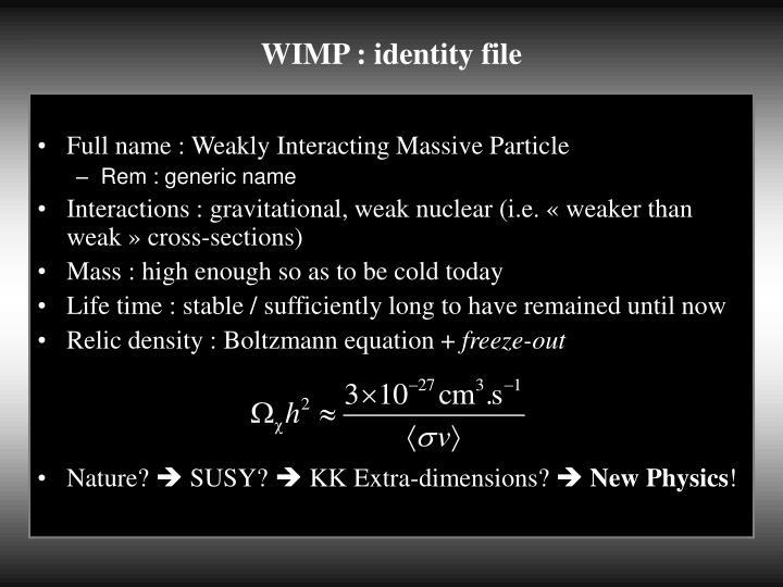 WIMP : identity file