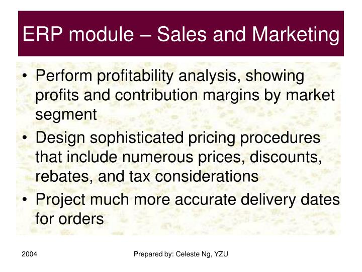 ERP module – Sales and Marketing