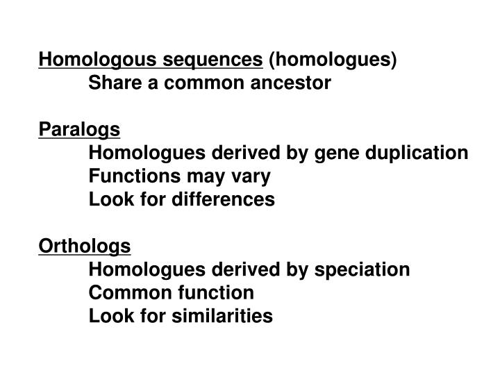 Homologous sequences