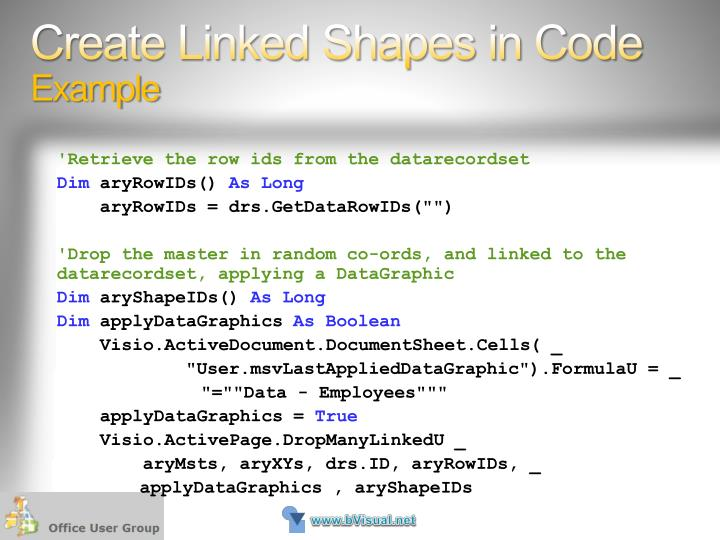 Create Linked Shapes in Code