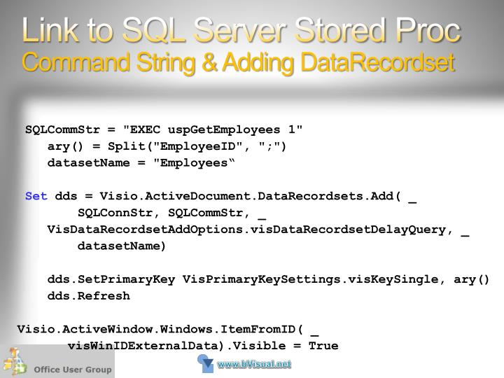 Link to SQL Server Stored Proc
