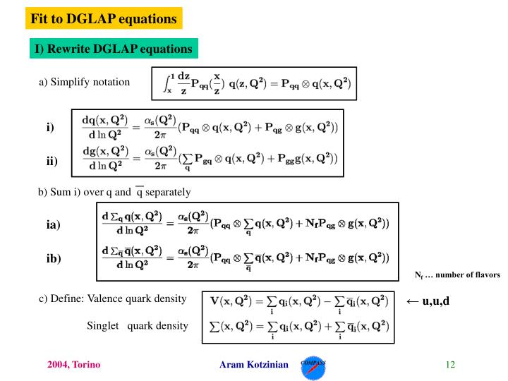 Fit to DGLAP equations
